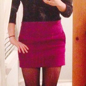 Magenta wool mini skirt